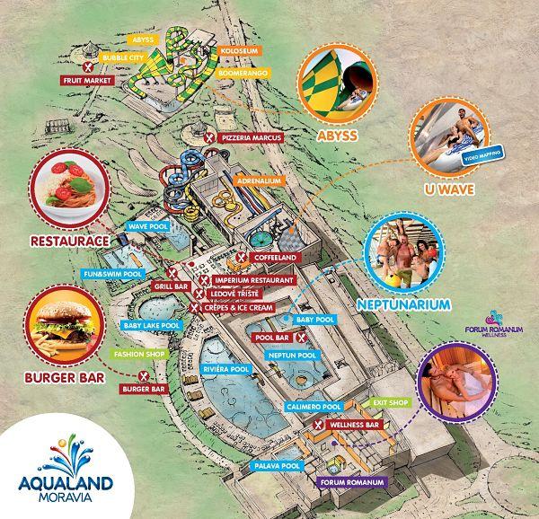 Aqualand Moravia mapa areálu